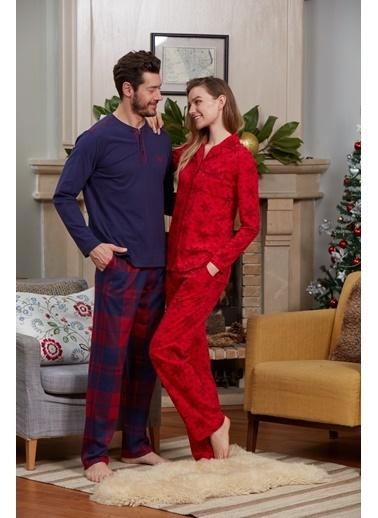 Eros Gömlek Uzun Kollu Pijama Takımı Kırmızı